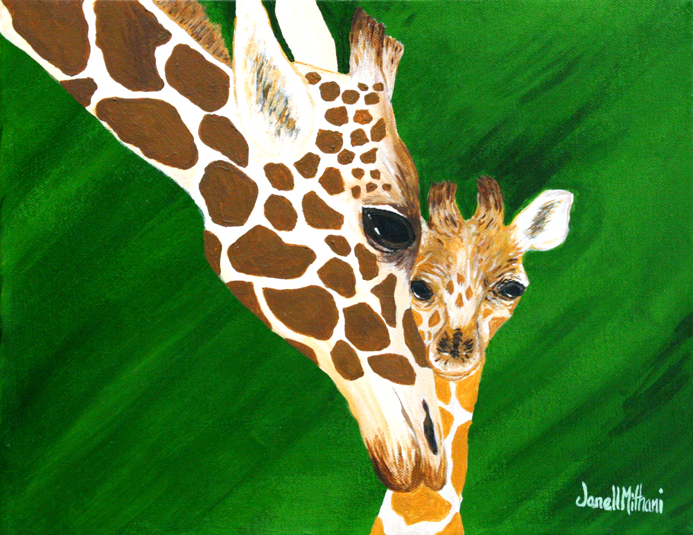 Mom and baby giraffe painting by Janell Mithani