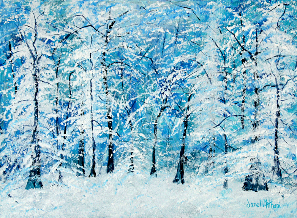 Winter trees painting by Janell Mithani
