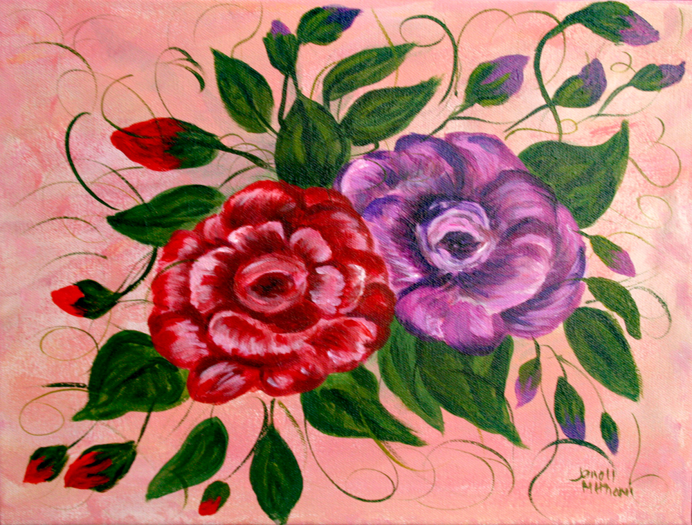 Red and purple flowers painting by Janell Mithani