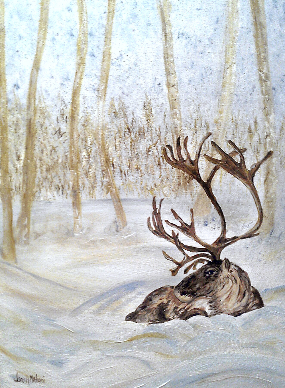 Reindeer in snow painting by Janell Mithani
