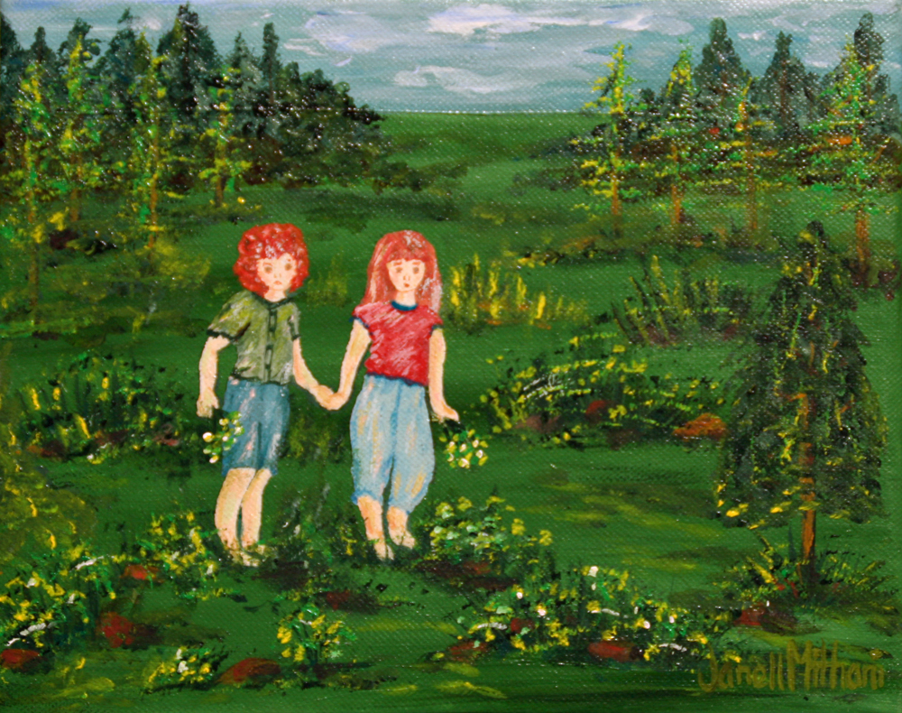 redheaded sisters in the forest painting by Janell Mithani