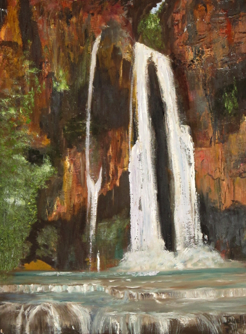 Waterfal painting by Janell Mithani