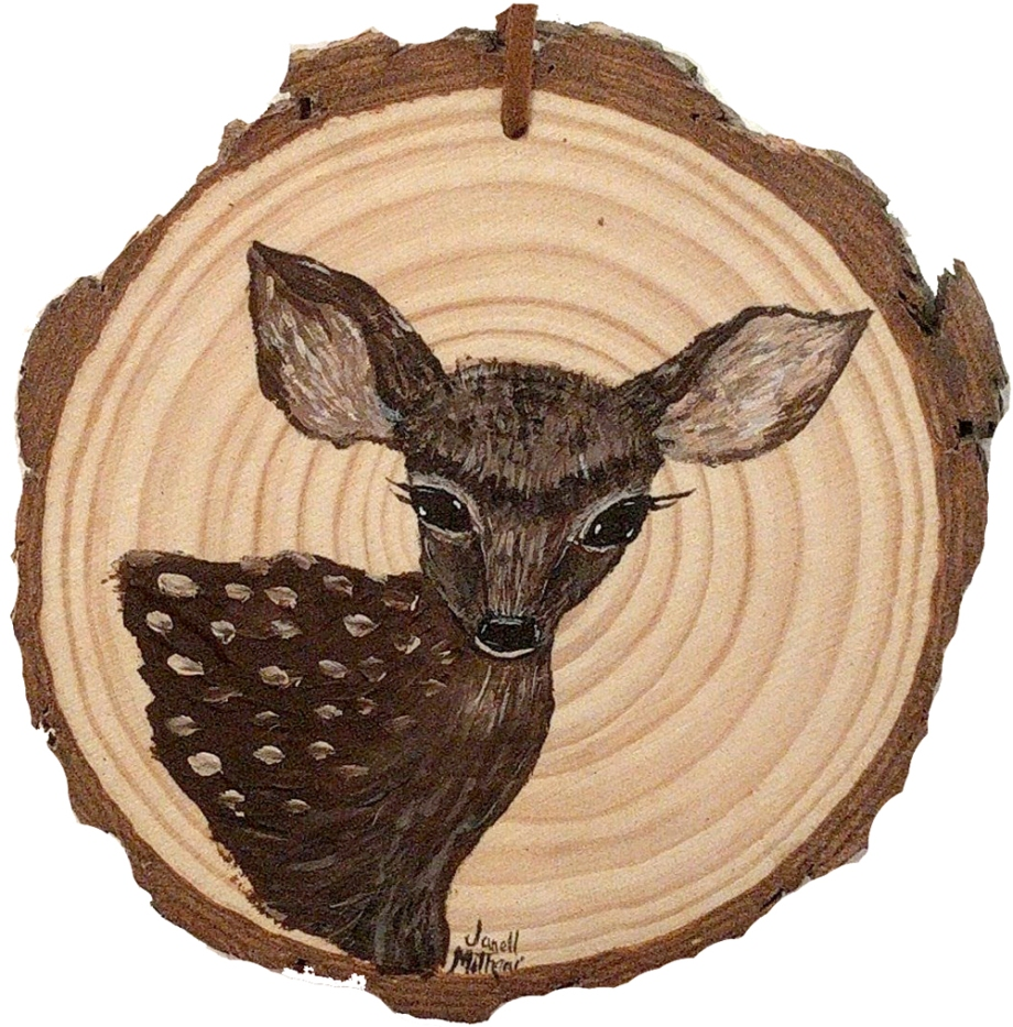 fawn painting on wood slice by Janell Mithani