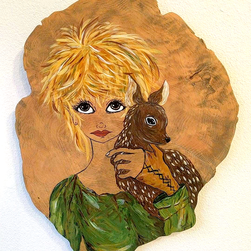 fairy and deer painting on wood burl