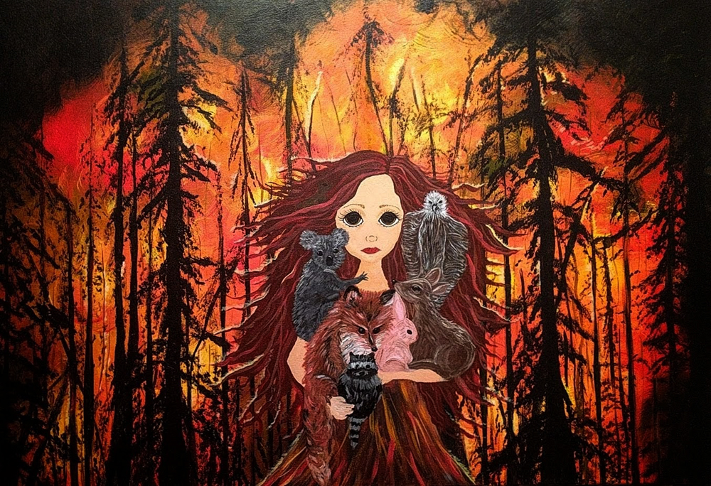 Fire in california and Australia painting by Janell Mithani