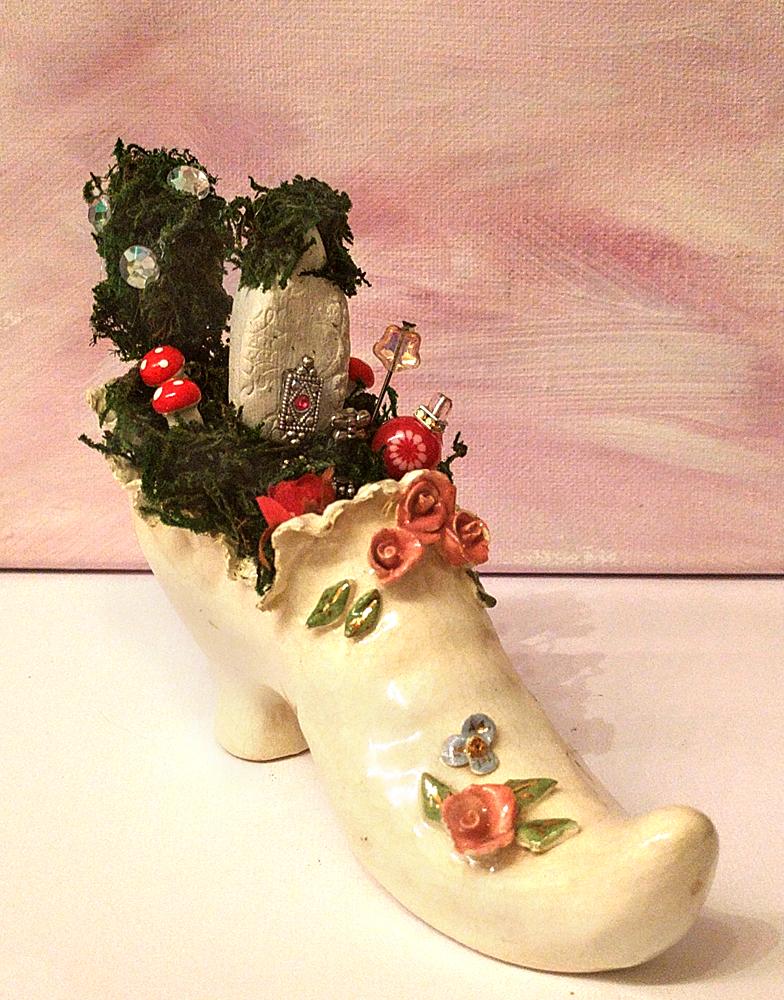 Fairy garden in a shoe