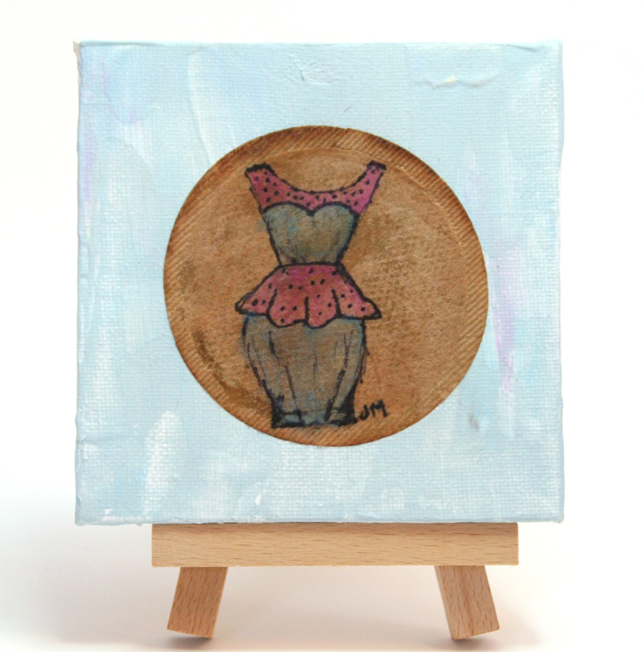 tea bag painting of vintage dress by Janell Mithani