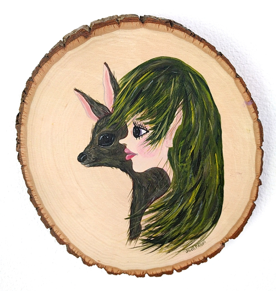 fairy and deer painting on wood slab by janell mithani
