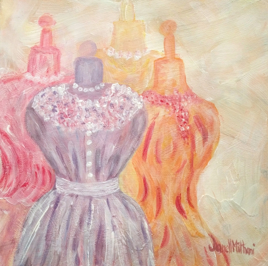 grace three vintage dresses painting
