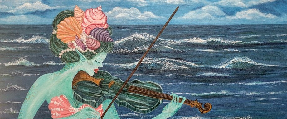 mermaid play violin painting by Janell Mithani