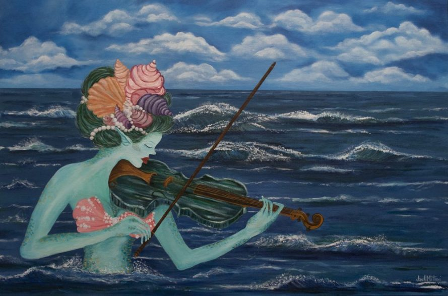 Musical Mermaid Viola painting by Janell Mithani