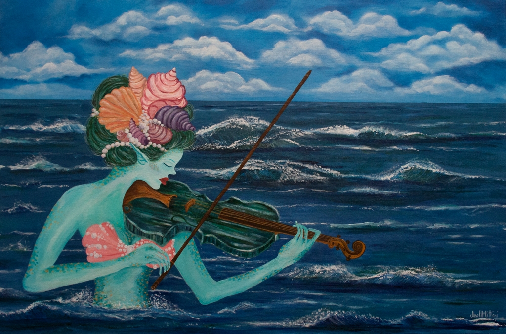 Painting by Janell Mithani of  mermaid playing the violin